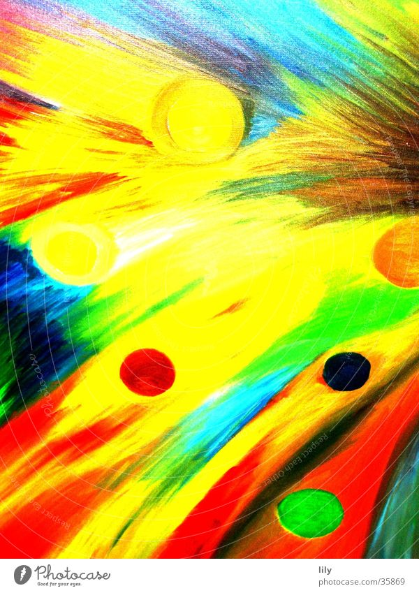 abstrakte Malerei Ölfarbe Gemälde mehrfarbig streichen Farbe bemalte Leinwand Bild Wildtier Dynamik