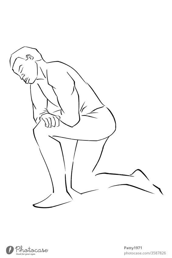 Abstrakte Illustration eines knienden Afroamerikaners Mann Erwachsene Protest Trauer Mitgefühl Linie Grafik u. Illustration schwarz graphisch abstrakt Rassismus