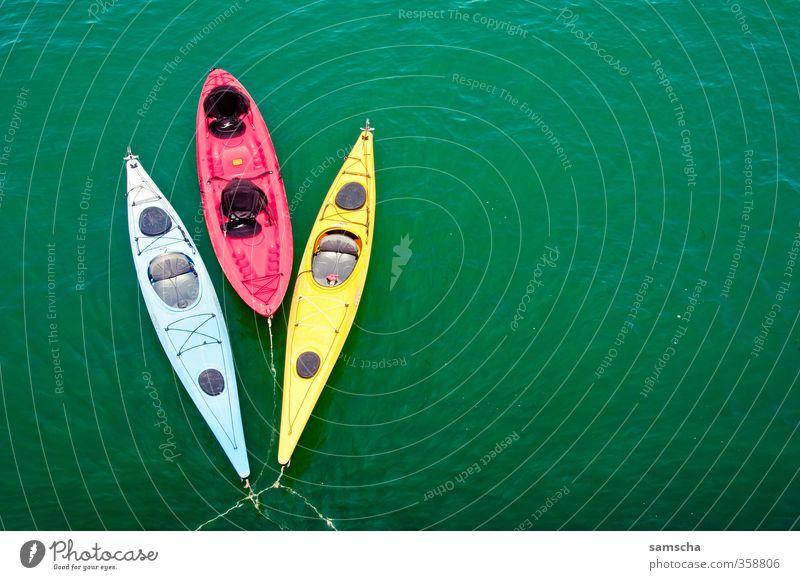 dreifarbig Ferien & Urlaub & Reisen blau grün Wasser Farbe Meer rot Ferne gelb Sport Freiheit Wasserfahrzeug Freizeit & Hobby Tourismus Ausflug Abenteuer