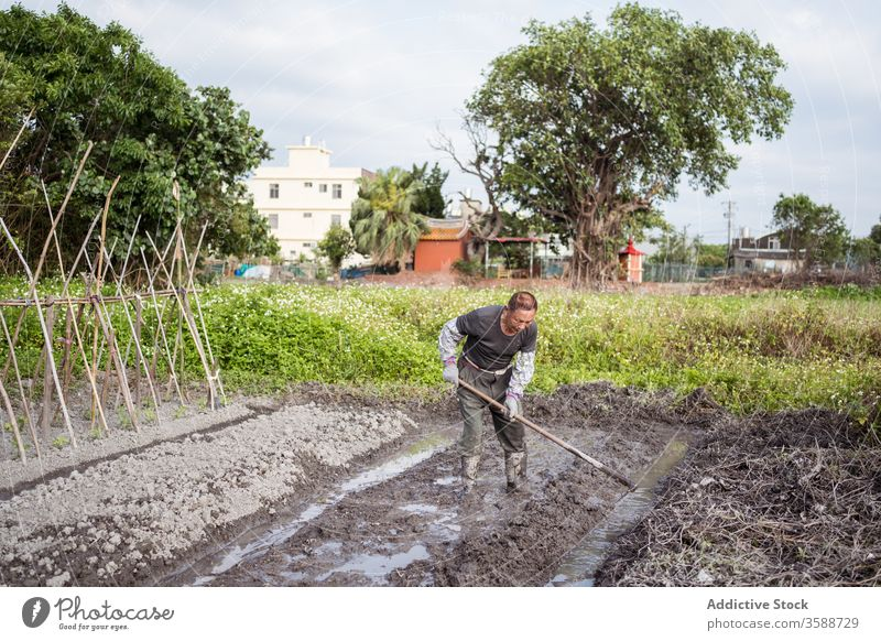 Eifrige ethnische Bauern bearbeiten den Boden vor der Pflanzung mit der Hacke Landwirt kultivieren Pflanze Garten Mann Bauernhof Agronomie Ackerbau Arbeit nass