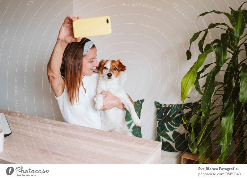 """junge Frau, die zu Hause arbeitet, mit dem süßen kleinen Hund kuschelt und ein Foto mit dem Handy macht. Konzept """"Zuhause bleiben kuscheln Liebe Kuscheln"""