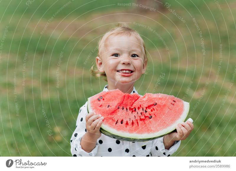 Ein süßes kleines Mädchen, das im Sommer ein großes Stück Wassermelone auf dem Rasen isst. Bezauberndes kleines Mädchen, das im Garten spielt und in ein Stück Wassermelone beißt. selektive Konzentration.