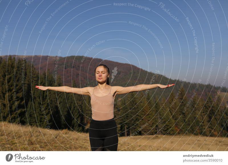 Junge Frau macht Dehnungsübungen in der Natur in den Bergen. Sportlerin beim Üben von Yoga-Pose in Leggins. schöne Waldlandschaft jung Lifestyle Fitness Übung