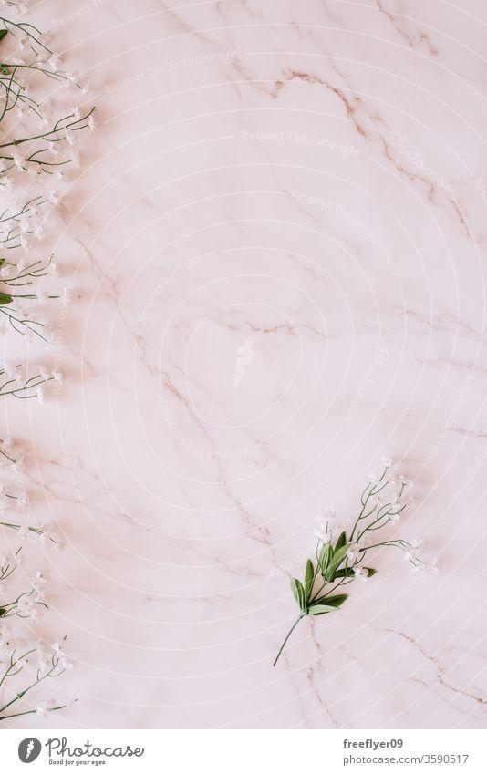 Flaches Legen einiger Blumen vor einem Marmorhintergrund Frühling flache Verlegung Flachlegung Textfreiraum copyspace noch Stillleben von oben Objekte Attrappe
