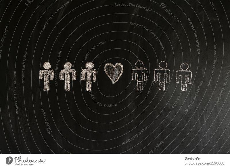 zusammenhalt Rassismus weiß farbig rassistisch Freunde Brüder Menschen Strichmännchen Freundschaft Bruder Gleichheit gleich Gleichstellung Liebe Hass