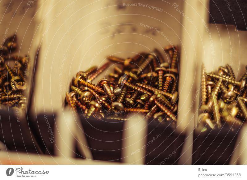 Sortierte Schrauben im Baumarkt sortiert Handwerk heimwerken Metall Handwerker