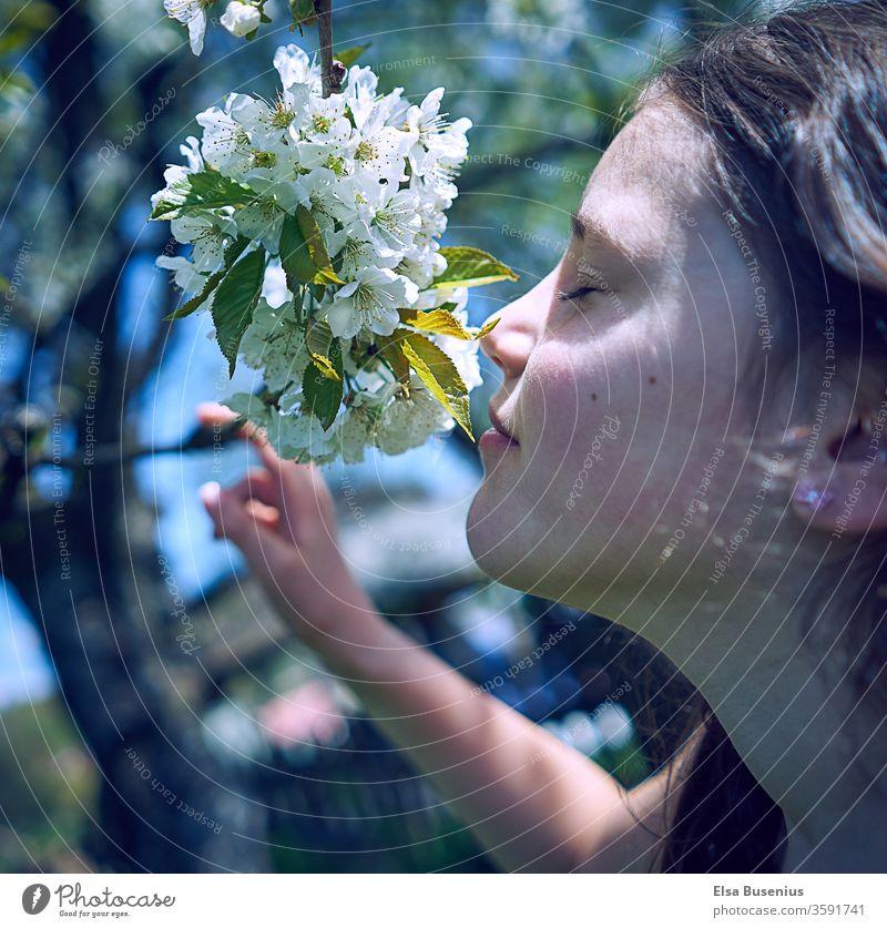 Frühling Mädchen richt an Kirschblüten Kind Mensch Außenaufnahme Kindheit 8-13 Jahre Freude Glück Farbfoto richen genießen genießend geschlossene Augen Garten