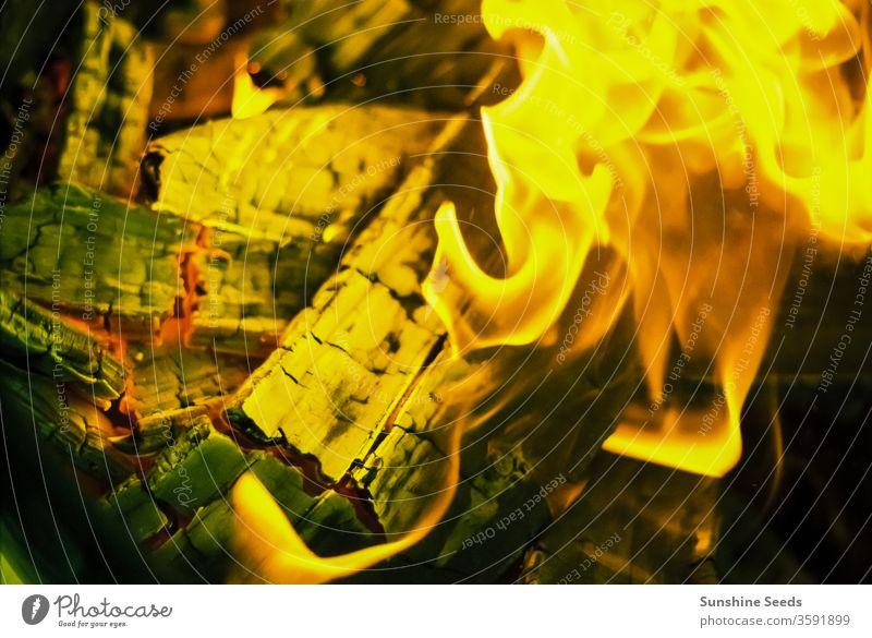 In einem Grillfeuer brennende Holzscheite Brennstoff Teilen Braten Baustein warm Funken hacken rot Kohle Lager gelb Temperatur hell Kohlenstoff Freundschaft