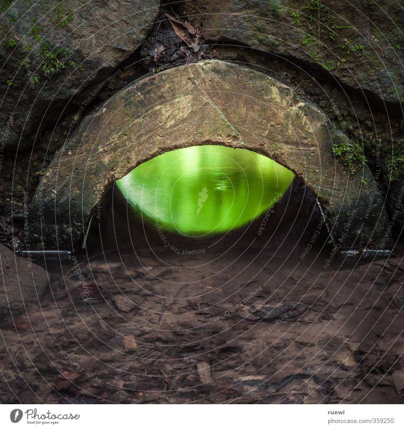 Durchblick grün Wasser dunkel Umwelt Auge Wand Mauer Architektur Stein außergewöhnlich braun glänzend leuchten nass Baustelle Landwirtschaft