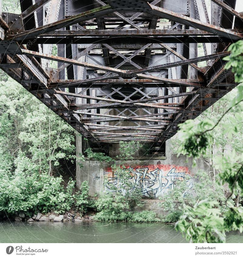 Alte Eisenbahnbrücke über die Havel bei Oranienburg Brücke Gitter Eisenbrücke Pfeiler Graffiti Fluss Ufer Büsche Bäume Rost alt verwittert ruhig tragend