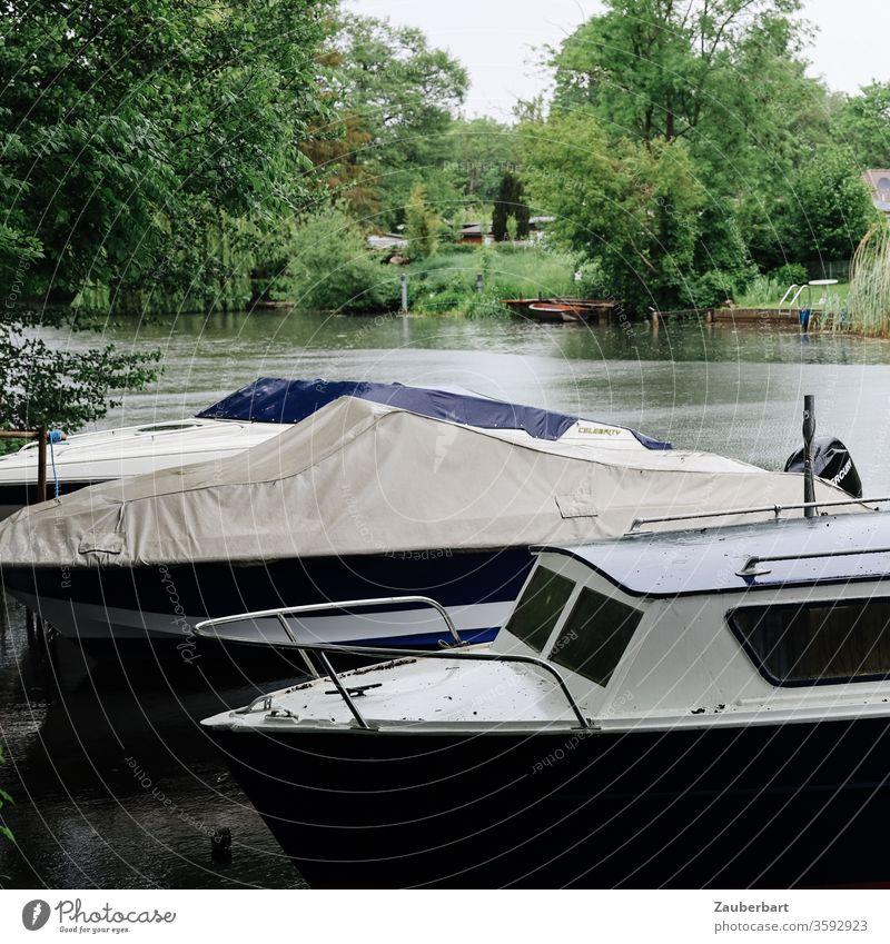 Kleine Motorboote liegen am Ufer des Flusses Havel bei Oranienburg, im Hintergrund Büsche und Bäume Boot Plane Wasser Busch Baum grün Natur Regen sanft Ruhe