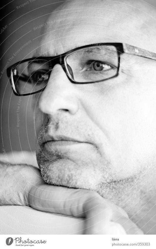 Ruhepol Mensch Mann weiß Erholung ruhig schwarz Erwachsene Kopf Zufriedenheit 45-60 Jahre beobachten Brille Vertrauen Gelassenheit positiv Vorsicht