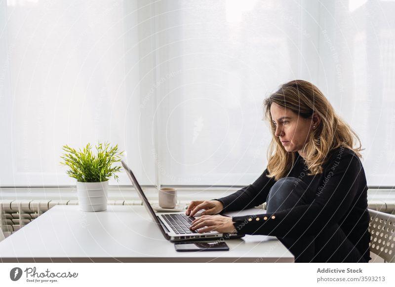 Entfernte Mitarbeiter, die zu Hause mit einem Laptop arbeiten Frau Arbeit heimwärts benutzend online abgelegen beschäftigt lässig ernst Tisch elektronisch