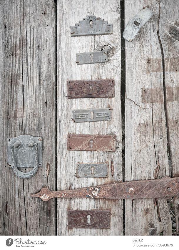 Beschlagen Tür alt Beschläge viele Holz Metall Rost früher Vergangenheit Vergänglichkeit Formen Muster Ornamente vornehm antik Farbfoto Außenaufnahme
