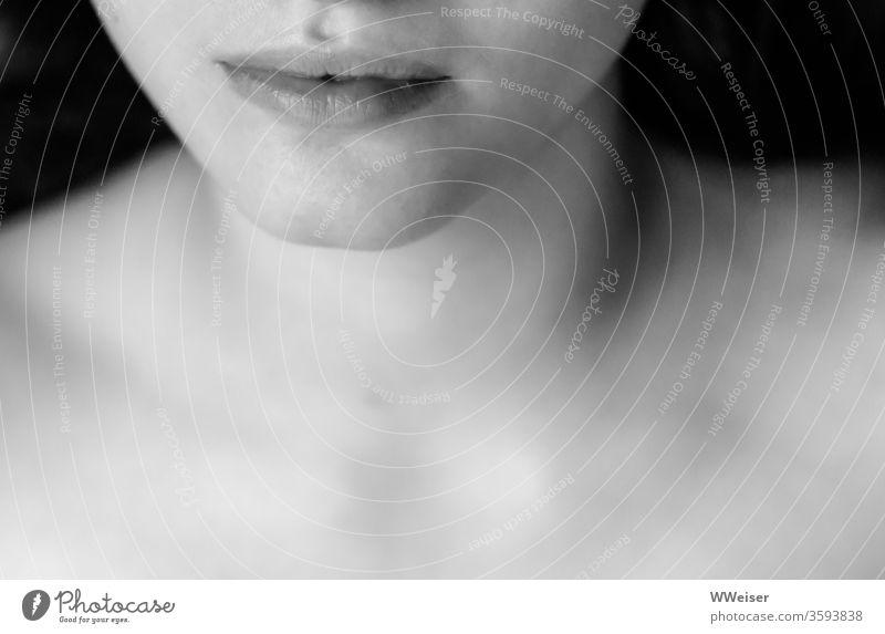 Sinnliche Lippen Mund Frau nackt Schultern Dekoltee Kinn Gesicht geheimnisvoll Schwarzweißfoto Haut schön feminin Junge Frau Nahaufnahme Mensch sinnlich