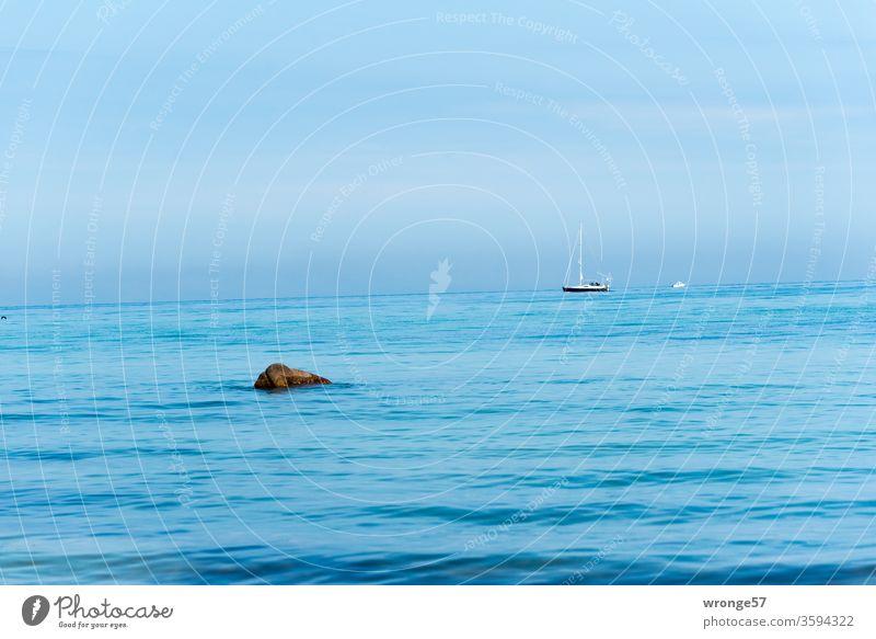 Kleines Segelboot fährt mit Motorkraft über die Ostsee Segelschiff Meer Ferne Horizont Sonnenschein Blaues Wasser Blaues Meer Blauer Himmel Tag Farbfoto