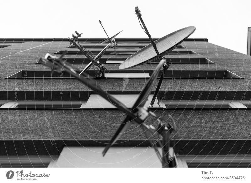 Ich glootz TV Satellitenantenne Plattenbau wedding Berlin Haus Fenster Fassade Architektur Balkon trist Menschenleer Stadt Außenaufnahme Hochhaus Bauwerk