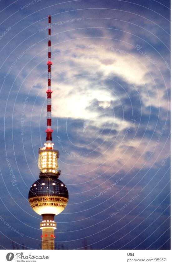 Berlin Nights Himmel Wolken Architektur Turm Mond Hauptstadt Berliner Fernsehturm