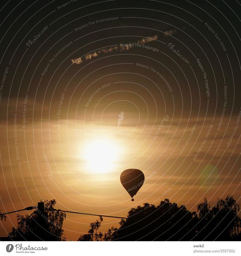 Thermik Ballon Abend Abendhimmel Sonne Sonenuntergang aufsteigend Kontrast leuchten strahlend Bäume Sepia sepiafarben Sonnenlicht Außenaufnahme Menschenleer