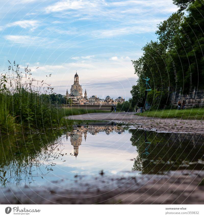 Spiegelbild Ferien & Urlaub & Reisen Sightseeing Städtereise Sommer Umwelt Landschaft Wasser Himmel Park Wiese Flussufer Dresden Stadt Altstadt Skyline Kirche