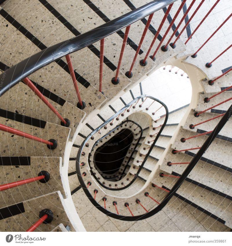 Hinab Stil Treppe Treppenhaus Treppengeländer Zeichen Perspektive tief Innenarchitektur Spirale Oval rund Farbfoto Innenaufnahme Menschenleer Vogelperspektive