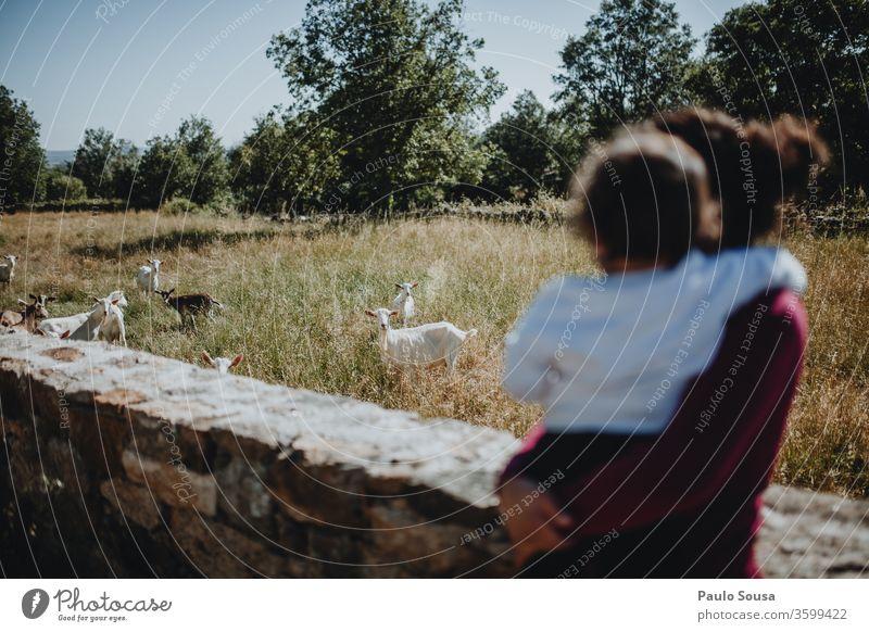 Mutter und Tochter beim Ziegenhüten Mutterschaft Zusammensein Zusammengehörigkeitsgefühl Hausziege Reisefotografie reisen reisend Fröhlichkeit Menschen