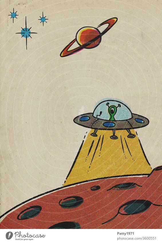 Retro Cartoon UFO über Mondoberfläche im Rasterdruck/Halbton Effekt retro cartoon Comic Planet Weltall außerirdisch Illustration vintage Papier alt Alien grün