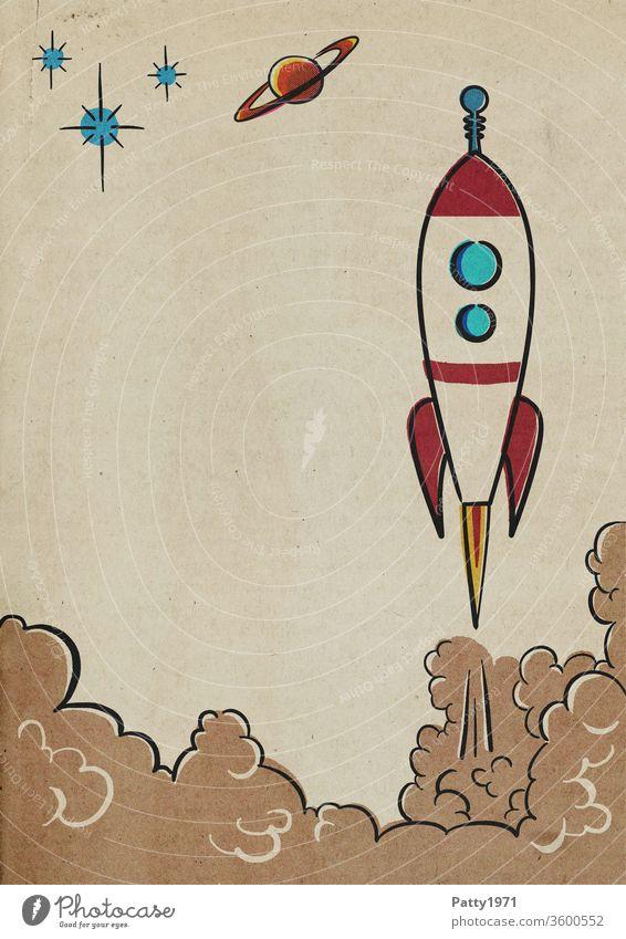 Startende Retro cartoon Rakete im Rasterdruck/Halbton Effekt Papier Cartoon Comic Illustration alt vintage retro Copyspace Grafik u. Illustration mehrfarbig