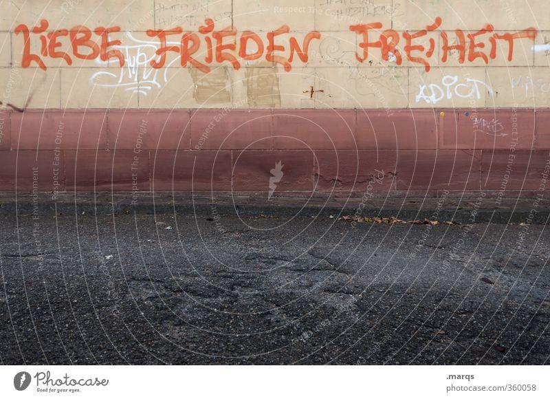 Elementar Mauer Wand Fassade Schriftzeichen Graffiti Freiheit Frieden Liebe elementar Leben Farbfoto Außenaufnahme Menschenleer Textfreiraum unten