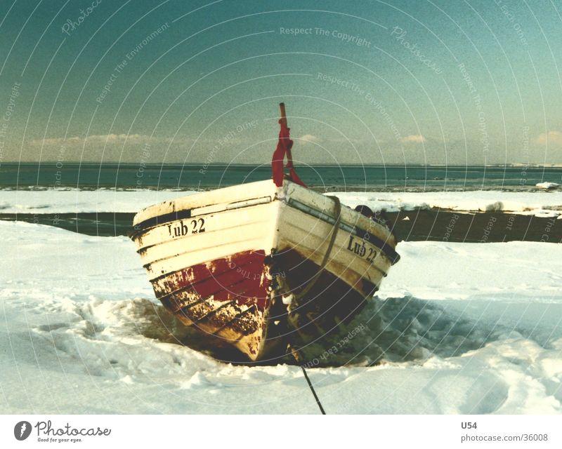 winter Winter Strand Schnee Sand Wasserfahrzeug Küste Fischerboot Lubmin