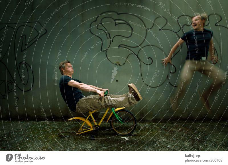 kinder haben keine bremse Mensch Mann Erwachsene Graffiti Straße springen maskulin Verkehr Geschwindigkeit gefährlich bedrohlich fahren Fahrradfahren stoppen