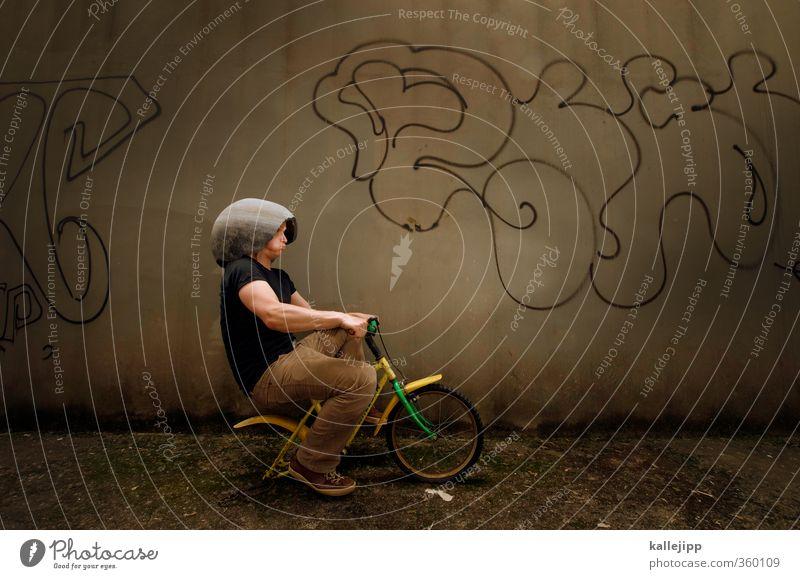 einrad Mann Erwachsene 1 Mensch Verkehr Verkehrswege Fahrradfahren T-Shirt Hose Geschwindigkeit Kinderfahrrad unterwegs Helm Graffiti Unfall Panne anstrengen