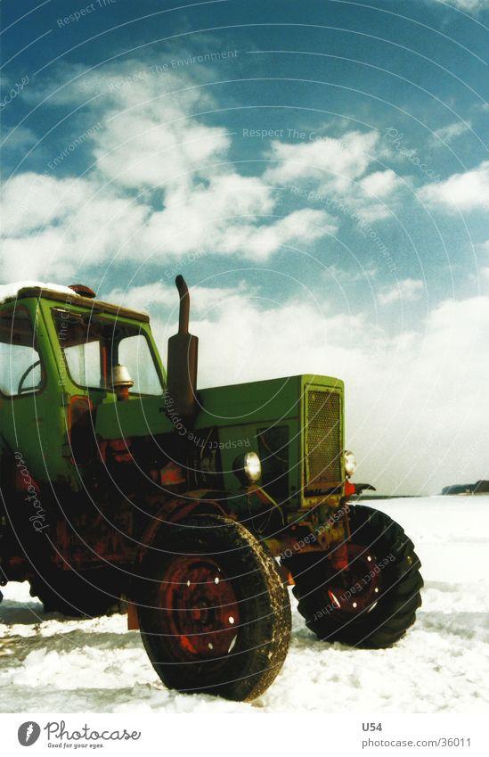 Zugkraft Himmel Sonne Winter Strand Wolken Schnee Verkehr Oldtimer Traktor