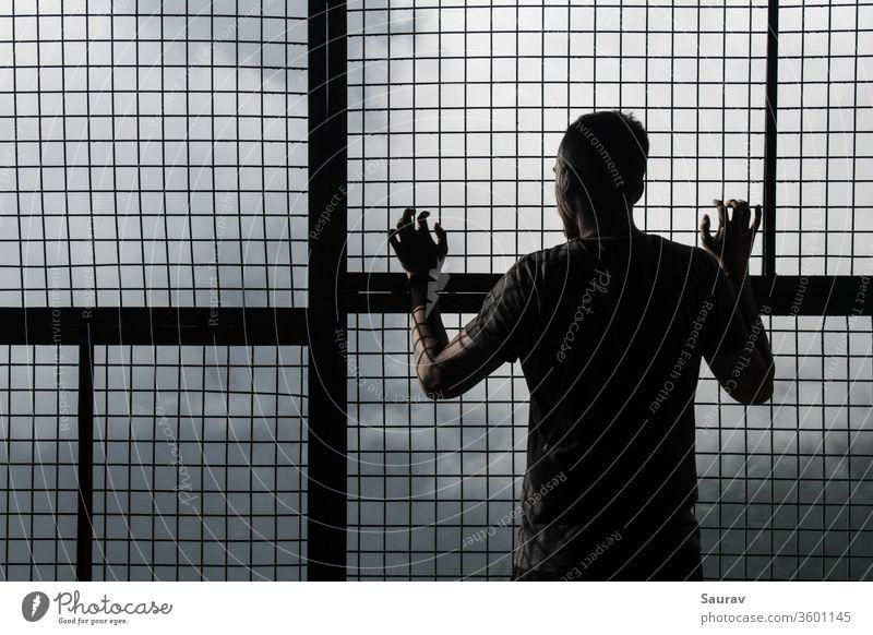 Junger Mann in Selbstisolierung/Quarantäne zu Hause, der während einer globalen Pandemie aus einem Maschengitterfenster schaut. Jugendliche Coronavirus Korona