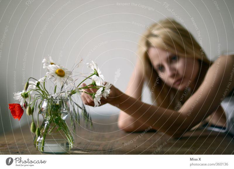 Traurig Mensch Frau Jugendliche Einsamkeit Junge Frau Blume 18-30 Jahre Erwachsene feminin Gefühle Traurigkeit Stimmung nachdenklich Arme Blühend Trauer