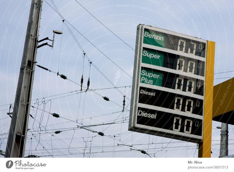 heute alles umsonst Tankstelle Benzin Diesel Preise tanken Rohstoffe & Kraftstoffe Sprit benzinpreis Anzeige Anzeigetafel Stromleitung Stromleitungen Strommast