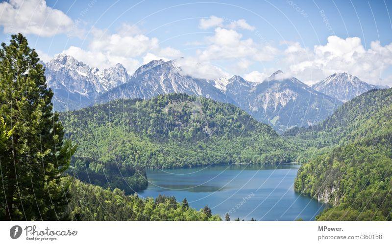 Alpsee Umwelt Natur Landschaft Wasser Himmel Wolken Sonne Sonnenlicht Seeufer Fjord Teich blau grün Alpen Alpenvorland Berge u. Gebirge Schneebedeckte Gipfel