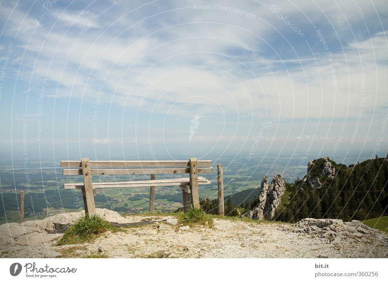 AST6 Inntal | die Bank ruft Natur Ferien & Urlaub & Reisen Einsamkeit Landschaft ruhig Wolken Umwelt Berge u. Gebirge Gesundheit Felsen Horizont Klima Tourismus wandern Schönes Wetter Gipfel