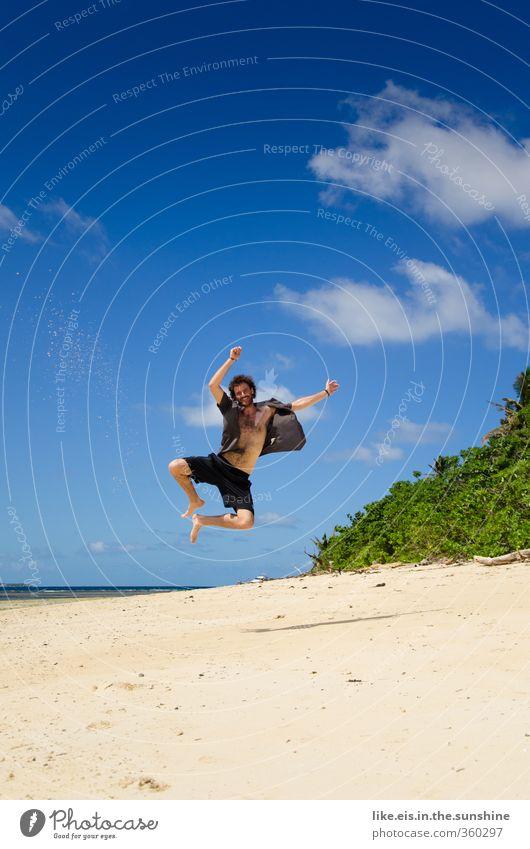 fijiiiiiiii! Jugendliche Ferien & Urlaub & Reisen Mann Sommer Sonne Meer Erholung Freude Strand 18-30 Jahre Junger Mann Erwachsene Leben Freiheit Glück maskulin