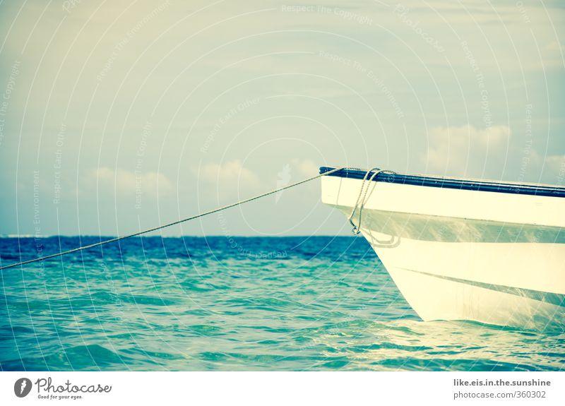 wär das jetzt toll... Ferien & Urlaub & Reisen blau Sommer Meer Erholung Landschaft ruhig Strand Ferne Küste Freiheit Wasserfahrzeug Wellen Freizeit & Hobby