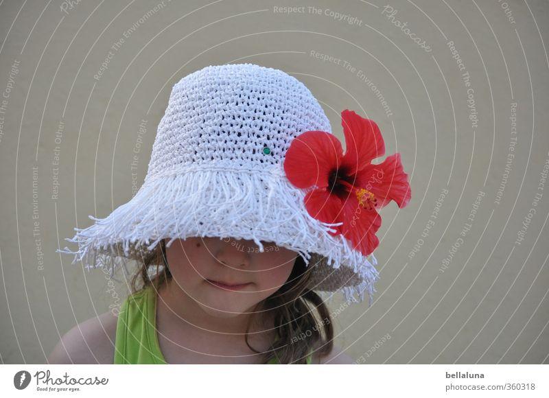 Schönes Wetter Mensch Kind Ferien & Urlaub & Reisen schön weiß rot Blume Mädchen Gesicht Leben feminin Haare & Frisuren Blüte natürlich Kopf Kindheit