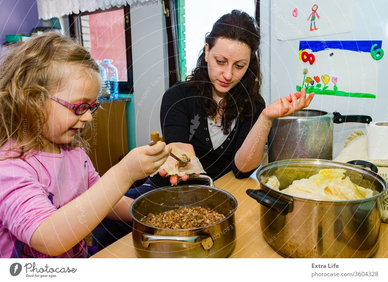 Sarma, Sauerkraut-Kohlröllchen gefüllt mit Hackfleisch und Reis Ordner Kohlgewächse Kind Kindheit Koch Essen zubereiten Küche Speise heimisch Frau besetzen
