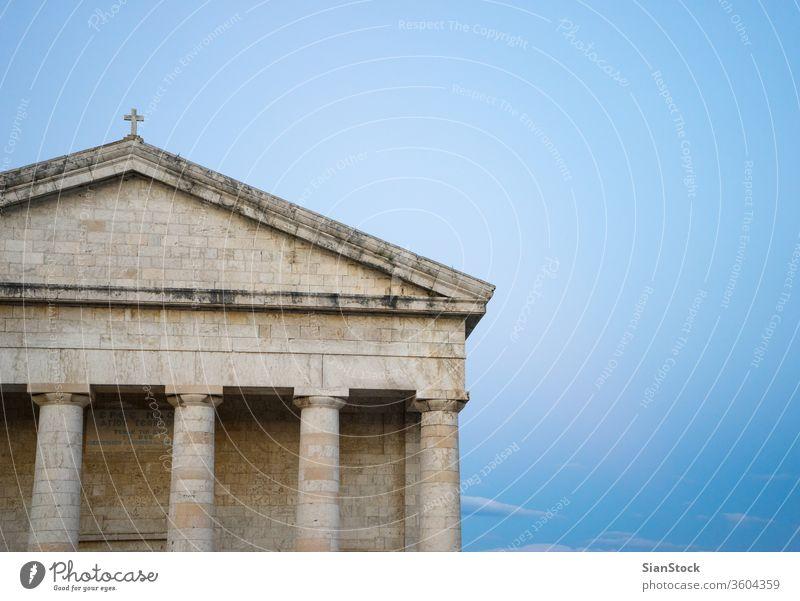 Foto der berühmten Kirche St. Georg in der alten venezianischen Festung der Insel Korfu, ionisch, Griechenland Heilige george Stadt kerkyra Architektur Gebäude