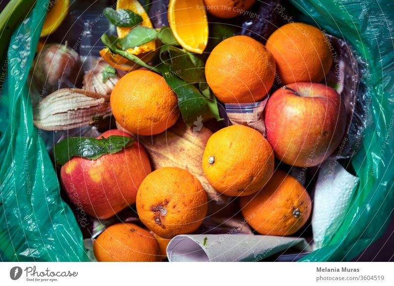 Lebensmittelabfallproblem, Reste, die in den Mülleimer geworfen werden. Verdorbenes Essen in den Mülleimer geworfen. Verdorbene Orangen und Äpfel in der Nähe. Ökologische Probleme. Müll. Konzept zur Reduzierung von Speiseresten. Von oben.