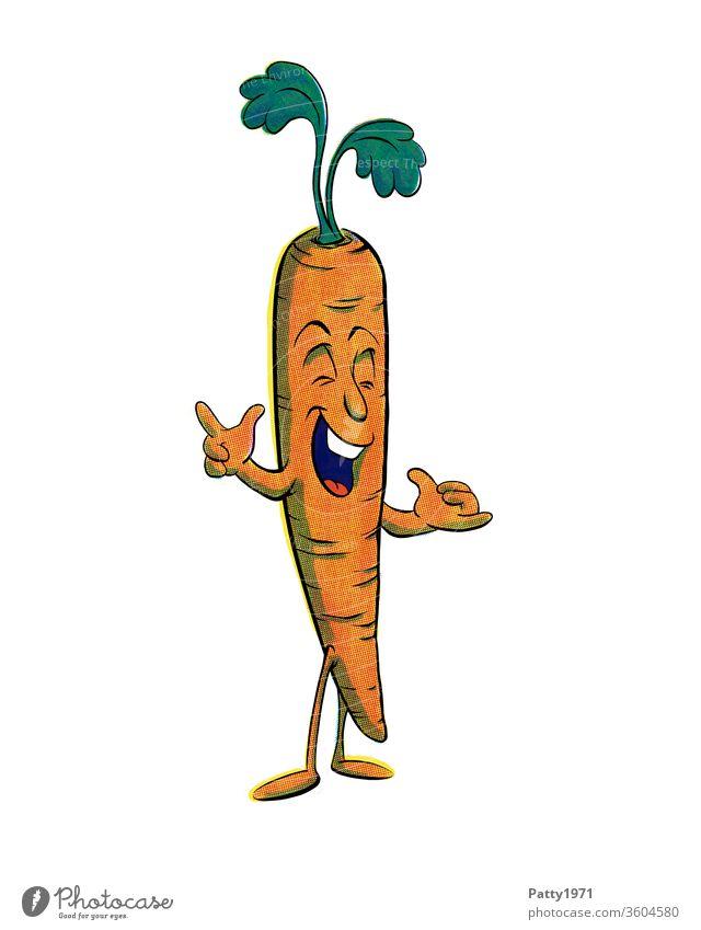 Lustige Cartoon Karotte isoliert vor weißem Hintergrund Comic Freisteller Gesicht Zeichnung Grafik u. Illustration lustig mehrfarbig Kreativität Gemüse