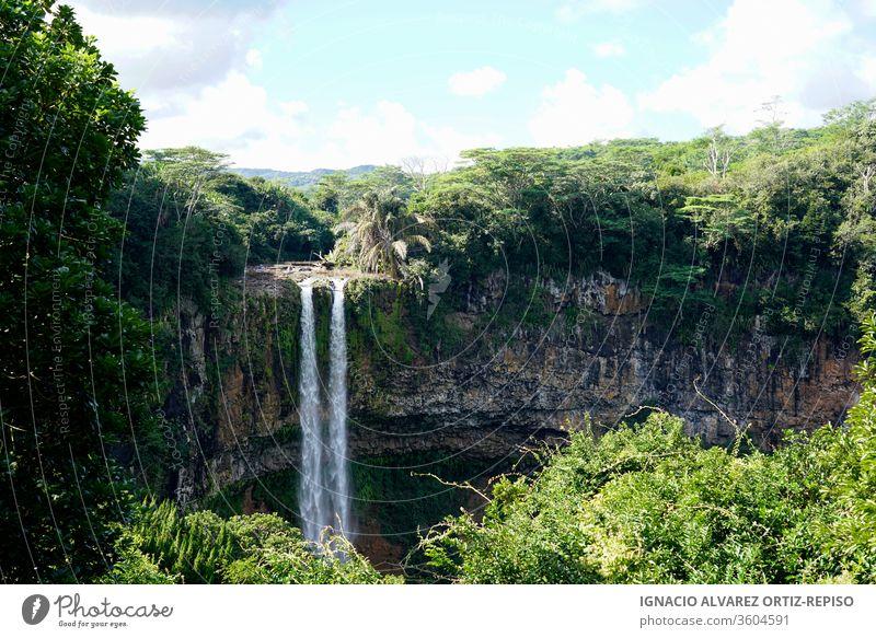 Wasserfall inmitten des tropischen Dschungels Natur Fluss Landschaft strömen grün fließend Park Gras Tourismus Wald Stein reisen fallen Schönheit Kaskade