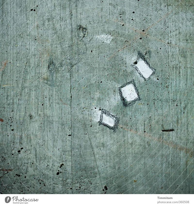 Sehenswürdigkeit. Beton Zeichen ästhetisch eckig einfach grau weiß Gefühle Linie Rechteck Kreide Farbfoto Gedeckte Farben Außenaufnahme Menschenleer Tag