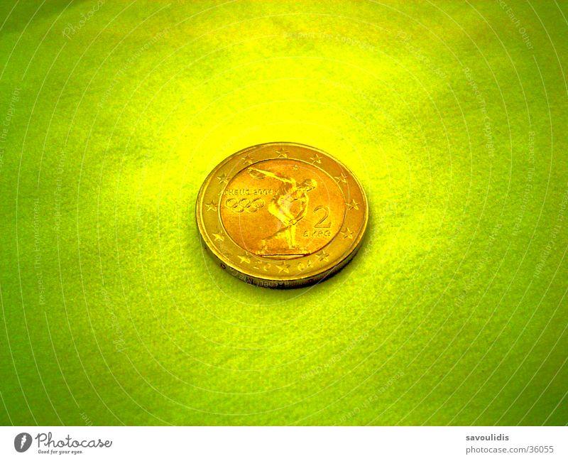 Hellas Olympia 2 Euro Münze grün Sport Arbeit & Erwerbstätigkeit Spielen Geld Europa Euro Griechenland Kapitalwirtschaft Geldmünzen Olympiade