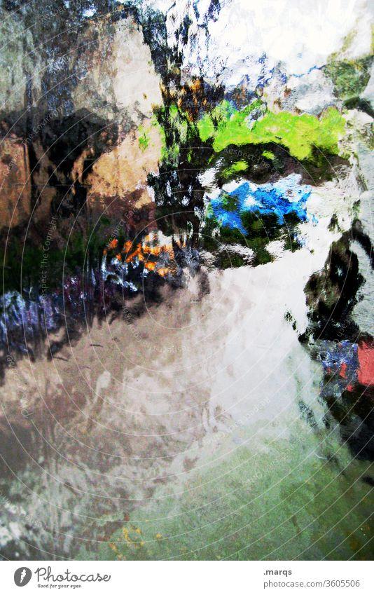 Einfahrt hinter Milchglas abstrakt Farbe bunt anders Strukturen & Formen Hintergrundbild Glas Stil