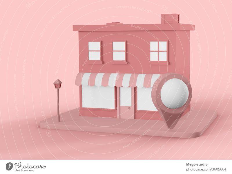 3D-Illustration. Cartoon-Stadtladen mit Leerzeichen und Kartenzeiger. 3d Großstadt Werkstatt blanko Anzeige Logo Werbung Grafik u. Illustration rendern kaufen